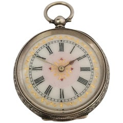Silver Victorian Period Key-Wind Ladies Pocket Watch