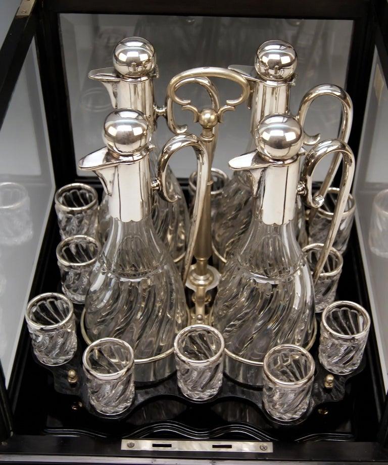 Art Nouveau Silver Vienna Liqueur Set Decanters Glasses Sixteen Pieces Showcase Made 1905 For Sale