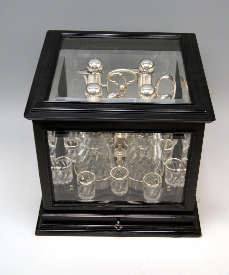 Austrian Silver Vienna Liqueur Set Decanters Glasses Sixteen Pieces Showcase Made 1905 For Sale