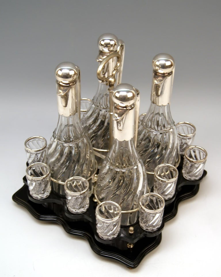 Early 20th Century Silver Vienna Liqueur Set Decanters Glasses Sixteen Pieces Showcase Made 1905 For Sale