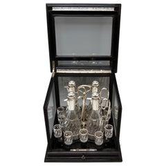 Silver Vienna Liqueur Set Decanters Glasses Sixteen Pieces Showcase Made 1905