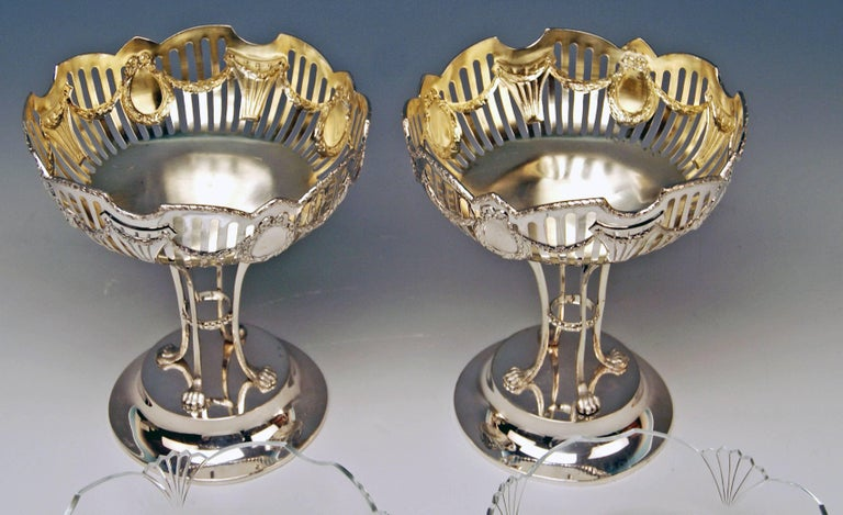 Silver Austrian gorgeous pair of fruitbowls / centrepieces of most elegant appearance.  Manufactory: Viennese silver manufactory FERDINAND VOGL (hallmarked). Related manufactory was once situated in Viennese 7th district (at the address
