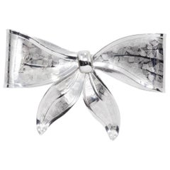 Silver Vintage Accented Bow Pin Brooch, Mid to Late 1900s