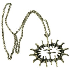 Silver Vintage Pendant 'Abstract Sun' by Studio Else & Paul, Norway, 1970s