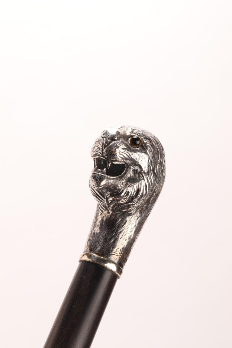 Silver Walking Stick with a Lion, London, 1900 For Sale 1