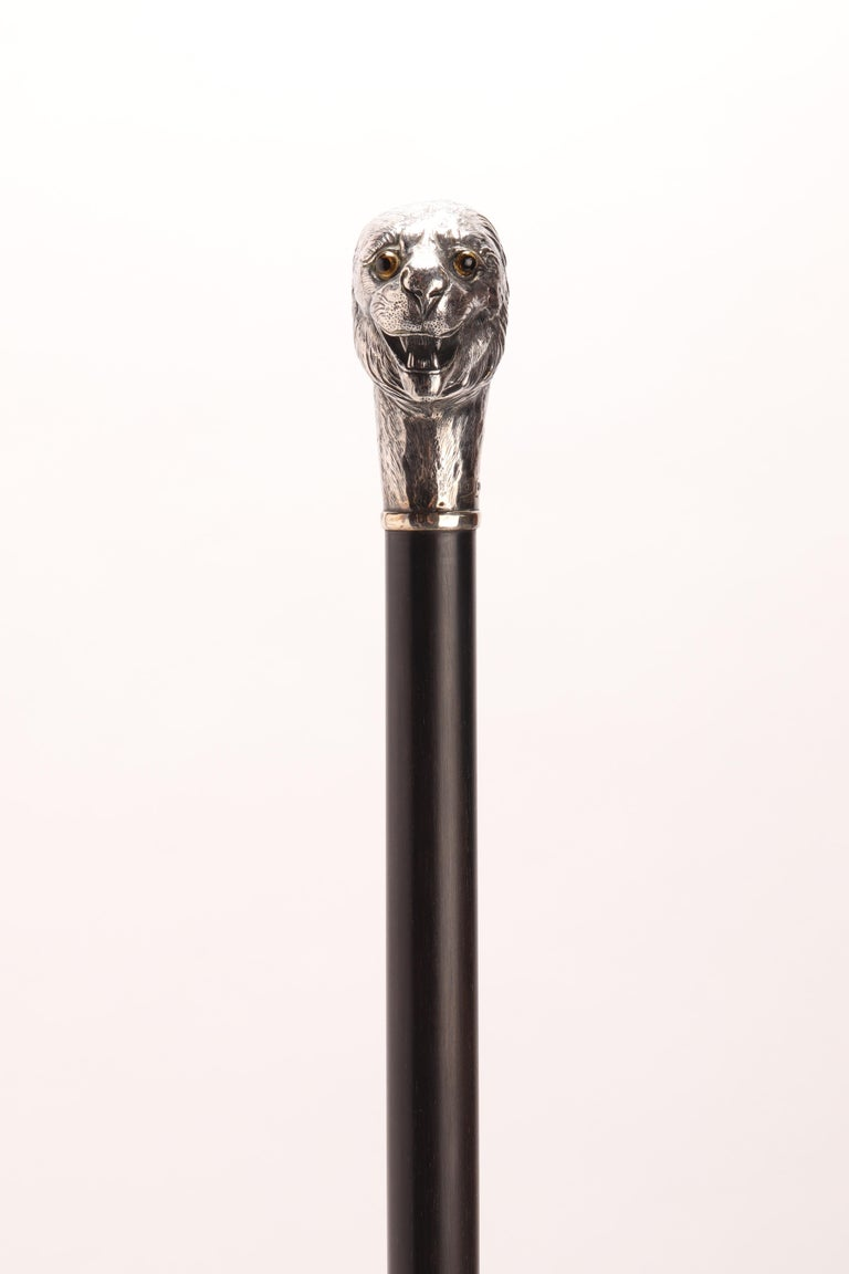 Silver Walking Stick with a Lion, London, 1900 For Sale 3