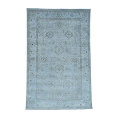 Silver Wash Peshawar Hand Knotted Pure Wool Oriental Rug