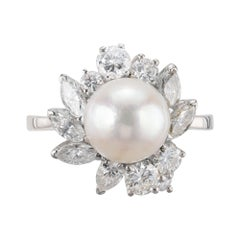Silver White Cultured Pearl Marquise Round Diamond Gold Cocktail Cluster Ring
