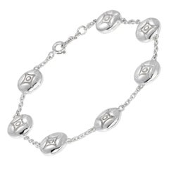 White Gold Plate Silver Link Charm Bracelet: 7 DIAMOND STARS in the SKY