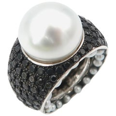 Silver White South Sea Pearl Black Diamond Pavé Pearl on Side 18K Gold Ring