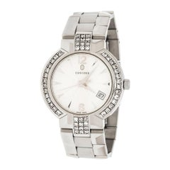 Silver White Stainless Steel Diamonds La Scala 14.CZ.1891 Men's Wristwatch 38 mm