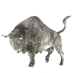 Silver Wild Bison Sculpture