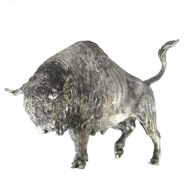 Silver Wild Bison Sculpture