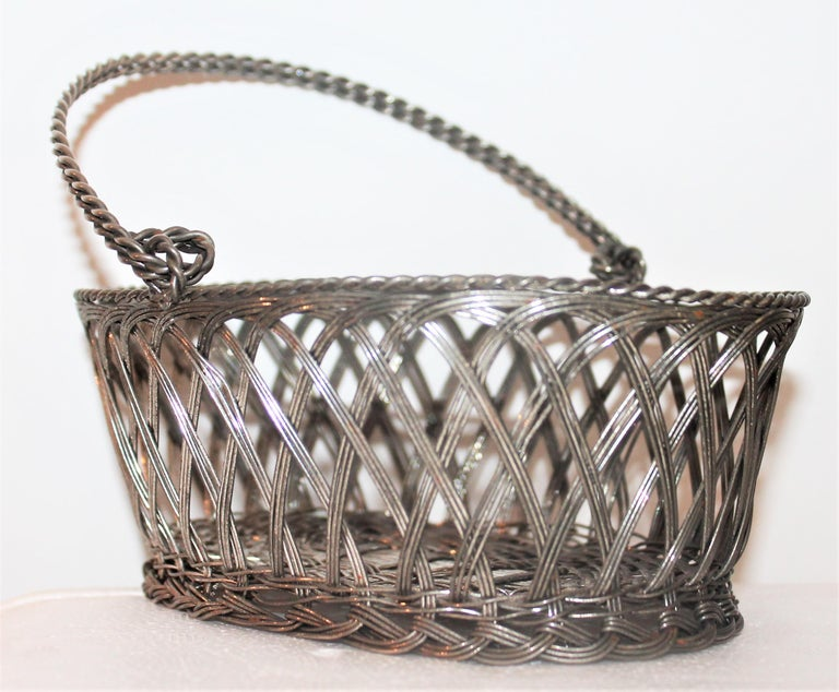 Adirondack Silver Wire Handled Basket For Sale