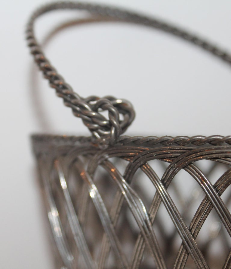 American Silver Wire Handled Basket For Sale