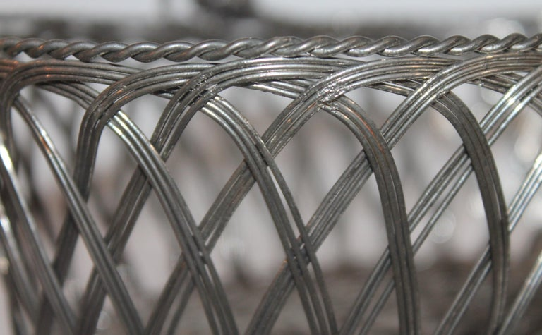 Hand-Crafted Silver Wire Handled Basket For Sale