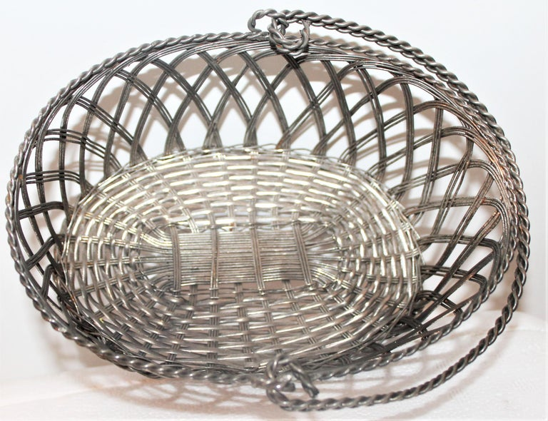 20th Century Silver Wire Handled Basket For Sale