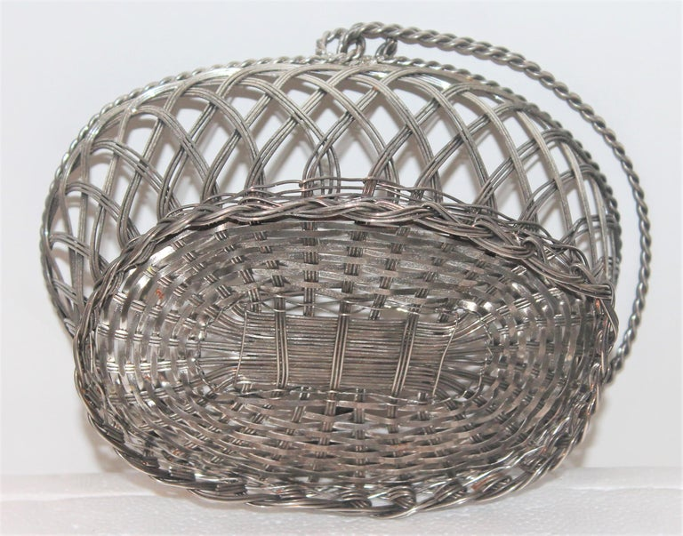 Silver Wire Handled Basket For Sale 1