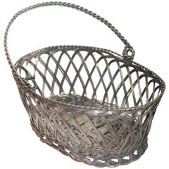 Silver Wire Handled Basket