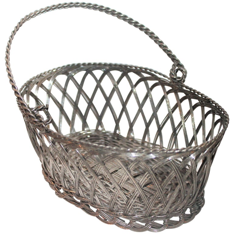 Silver Wire Handled Basket For Sale