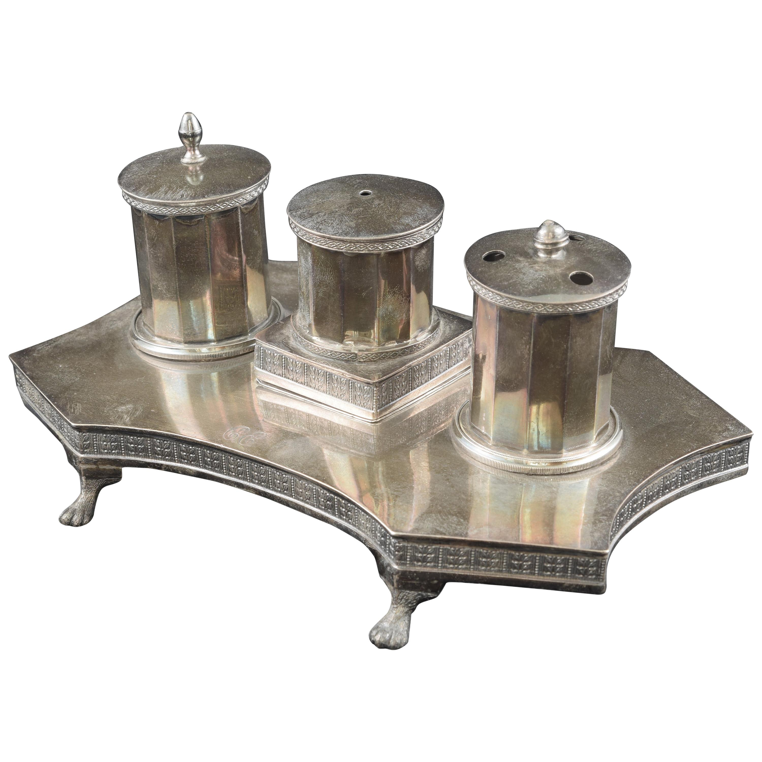 Silver Writing Set, Madrid, Spain, 1819 and 1841, with Hallmarks