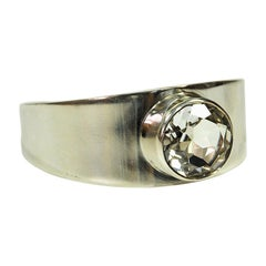 Midcentury Silverbracelet with Rock Crystal Stone by Bengt Hallberg 1972, Sweden