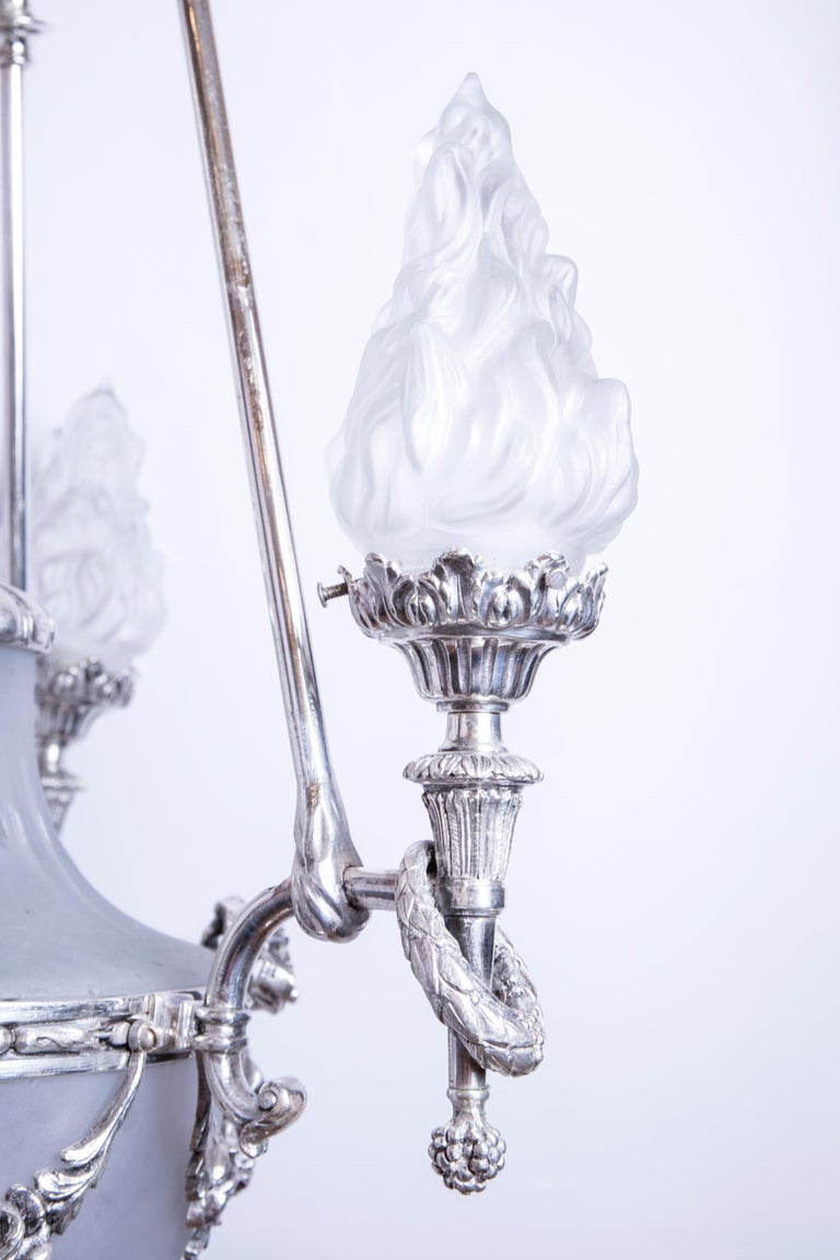 French Silvered 3-Arm Lantern with Glass Shades, circa 1890 For Sale