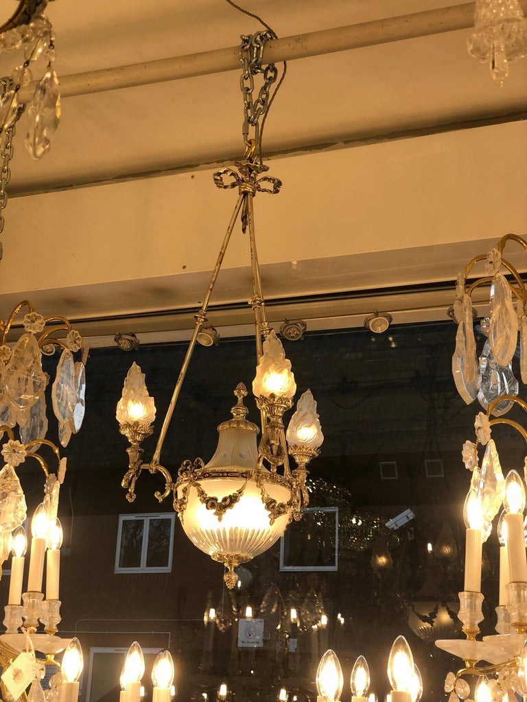 Frosted Silvered 3-Arm Lantern with Glass Shades, circa 1890 For Sale