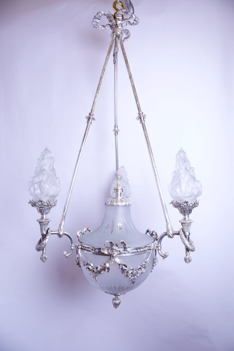 Late 19th Century Silvered 3-Arm Lantern with Glass Shades, circa 1890 For Sale