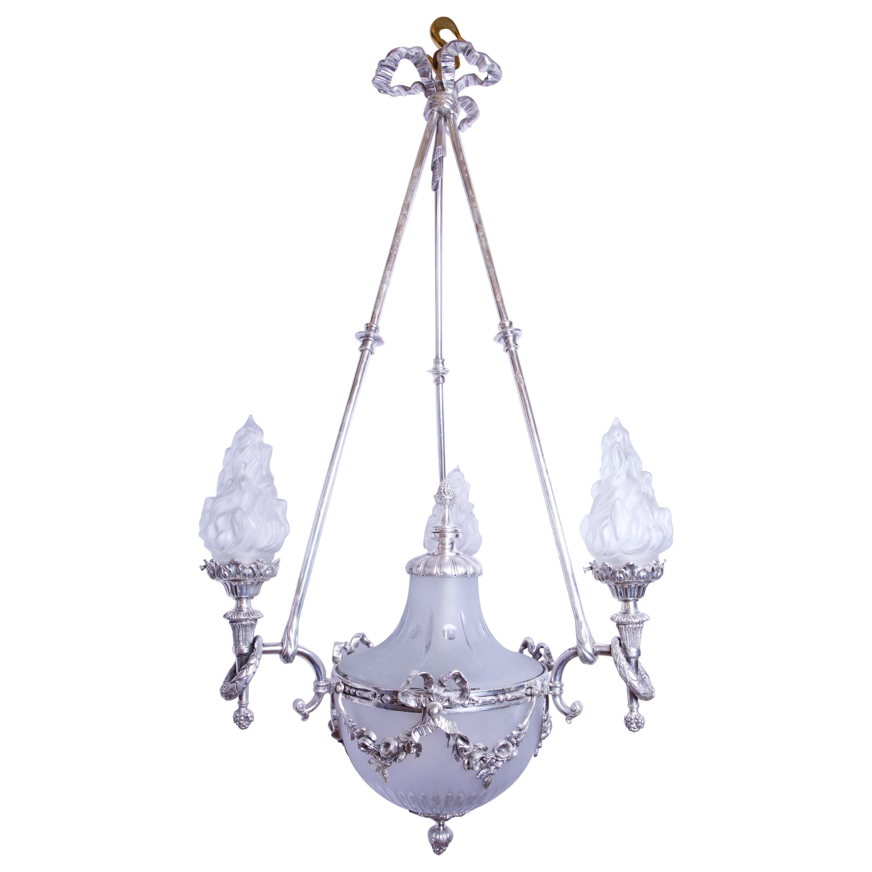Silvered 3-Arm Lantern with Glass Shades, circa 1890