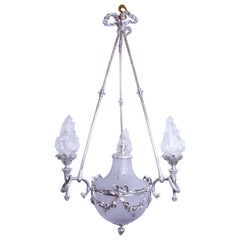 Silvered 3-Arm Lantern with Glass Shades, circa 1890