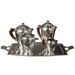 Silvered Art Deco Tea Coffee Service by Orfevrerie Perrin, Paris
