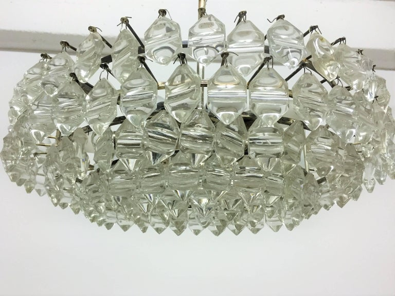Rare mid century glass and silvered chandelier by Bakalowits & Soehne, Austria, circa 1960s. Socket: Nine x Edison (e14) for standard screw bulbs. Very good condition.