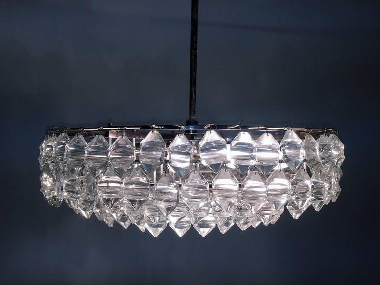 Austrian Silvered Brass and Glass Chandelier by Bakalowits, Austria, circa 1960s For Sale