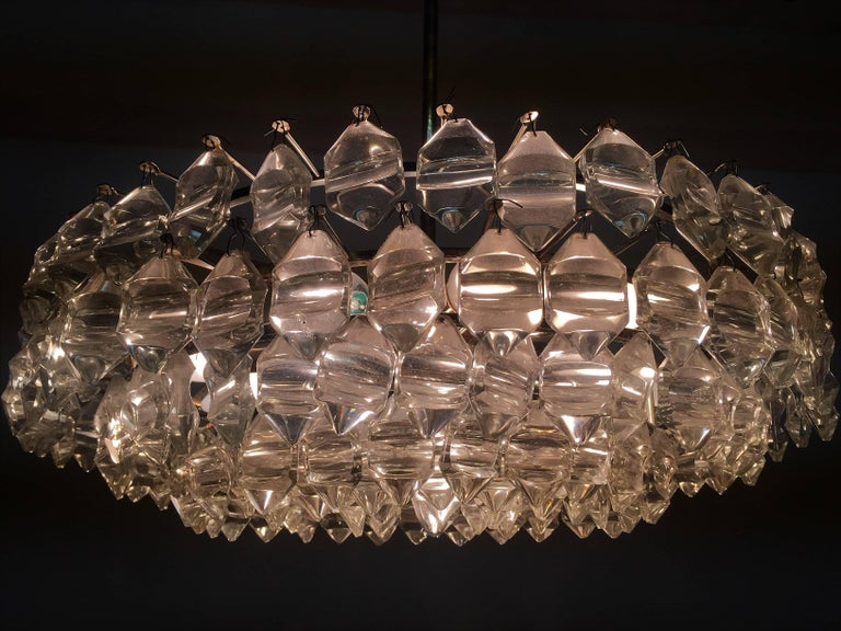 Silvered Brass and Glass Chandelier by Bakalowits, Austria, circa 1960s In Good Condition For Sale In Wiesbaden, Hessen