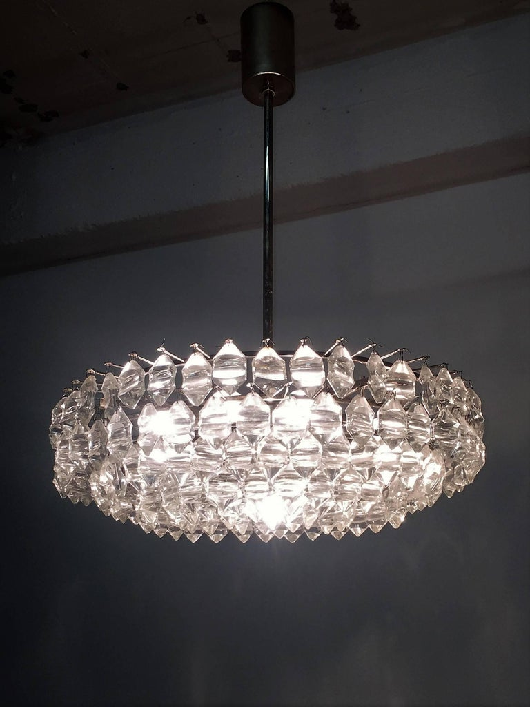 Mid-20th Century Silvered Brass and Glass Chandelier by Bakalowits, Austria, circa 1960s For Sale