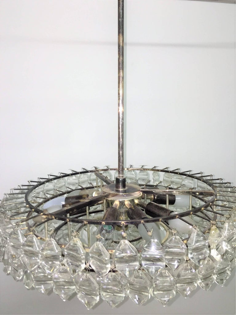 Silvered Brass and Glass Chandelier by Bakalowits, Austria, circa 1960s For Sale 2