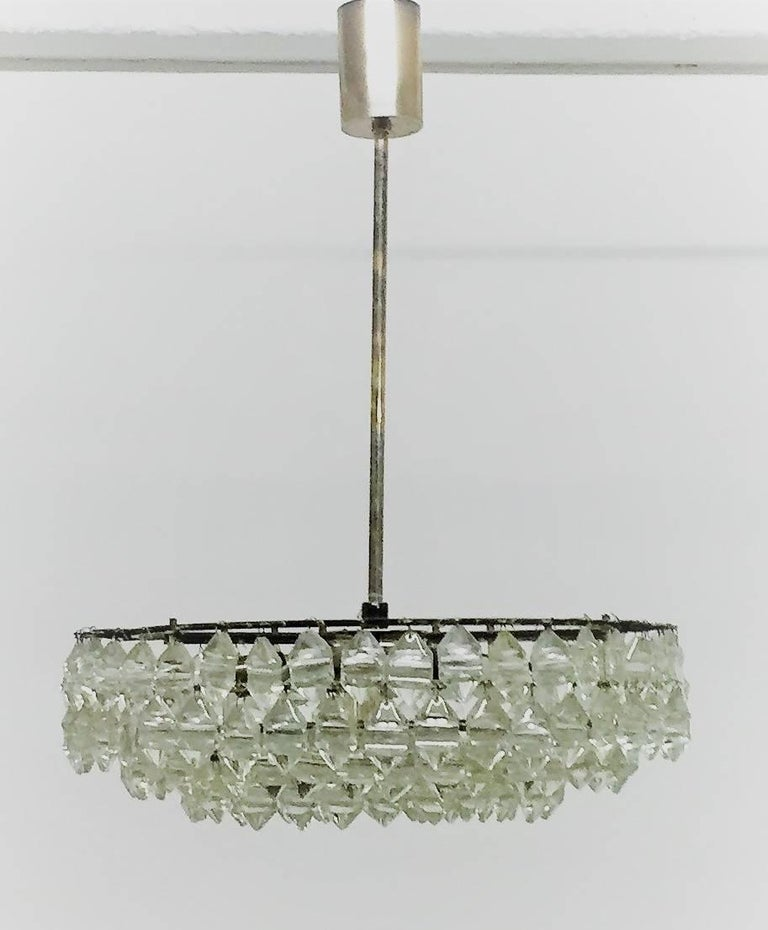 Silvered Brass and Glass Chandelier by Bakalowits, Austria, circa 1960s For Sale 3