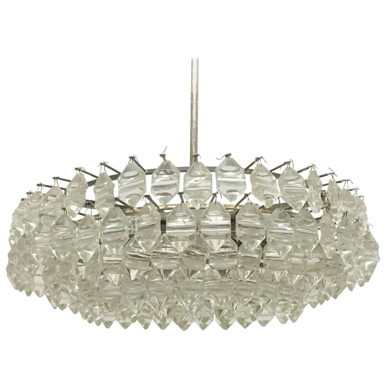 Silvered Brass and Glass Chandelier by Bakalowits, Austria, circa 1960s For Sale