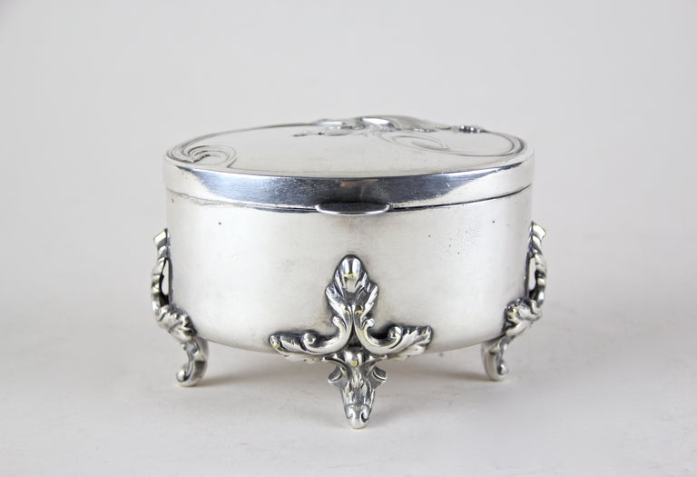 Beautiful small Silvered Brass Box by Moritz Hacker, Austria, circa 1900. Standing on four artful shaped feet, this decorative box comes with a great designed lid, showing a foliage on top. A real nice piece of a silvered Art Nouveau box, hallmarked