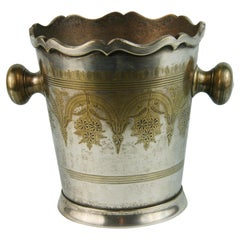 Silvered Brass Wine Cooler/Ice bucket  with Repousse Detailing