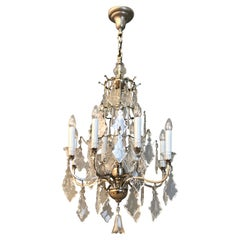 Silvered Bronze and Crystal Chandelier, France, circa 1900s
