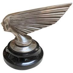 "Silvered Bronze Art Deco Sculpture Replica of Lalique Mascot ""Victory"""
