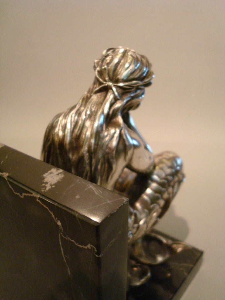 Silvered Bronze Bookends Sculptures of a Mermaid and Merman, France, 1900 For Sale 5