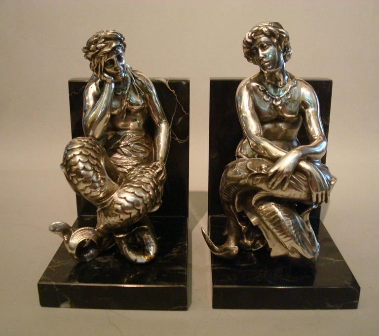 Silvered Bronze Bookends Sculptures of a Mermaid and Merman, France, 1900 For Sale 6