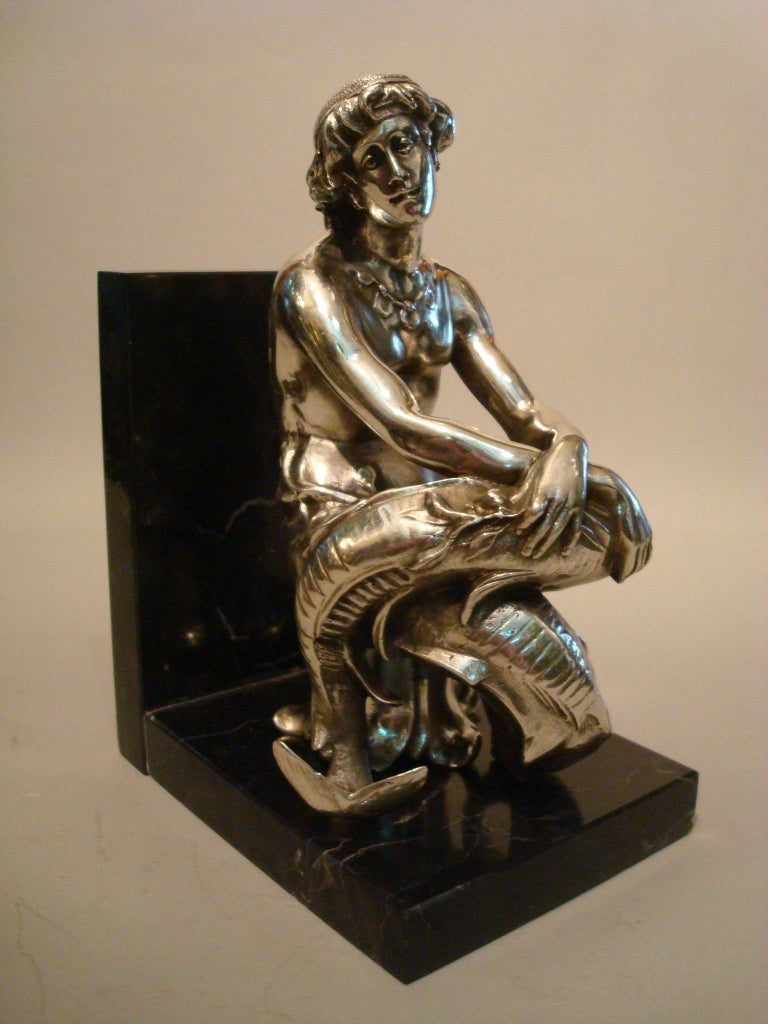 Art Nouveau Silvered Bronze Bookends Sculptures of a Mermaid and Merman, France, 1900 For Sale