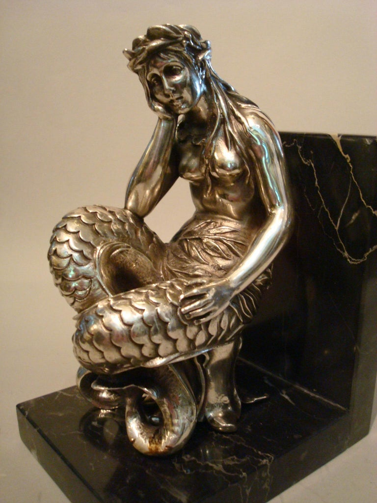 20th Century Silvered Bronze Bookends Sculptures of a Mermaid and Merman, France, 1900 For Sale