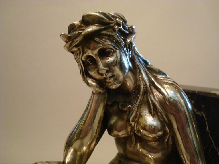 Silvered Bronze Bookends Sculptures of a Mermaid and Merman, France, 1900 For Sale 1