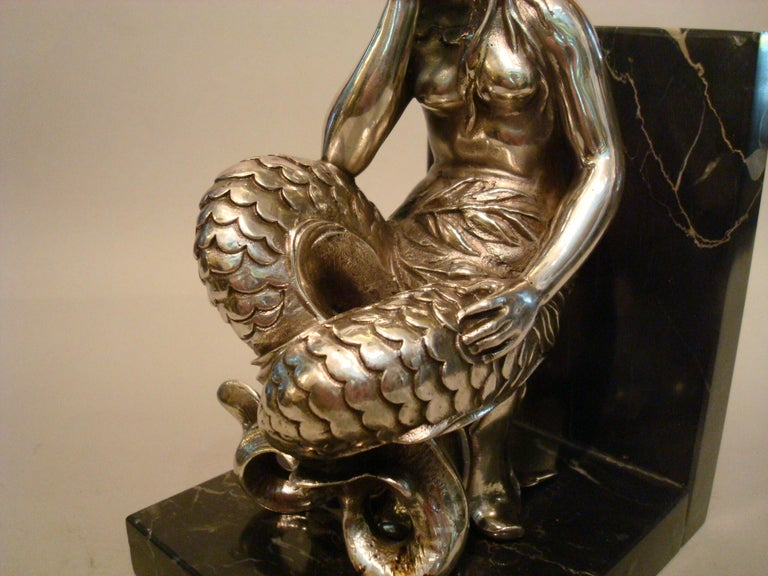 Silvered Bronze Bookends Sculptures of a Mermaid and Merman, France, 1900 For Sale 2