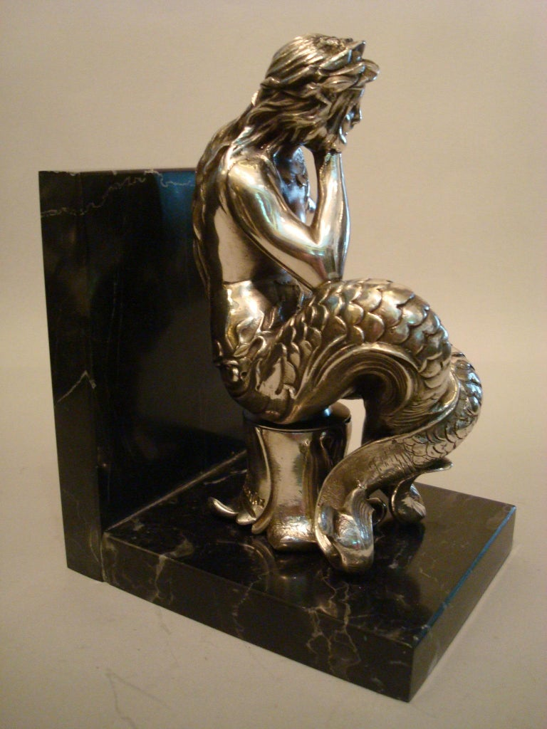 Silvered Bronze Bookends Sculptures of a Mermaid and Merman, France, 1900 For Sale 3